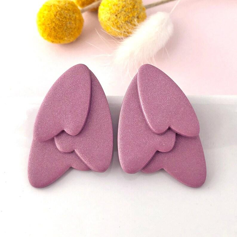 Cecilia Petal Earrings  mauve  polymer clay  nickel free jewelry