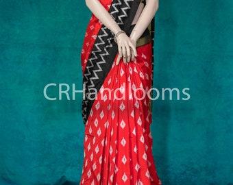 CRH/Pure Silk/Pochampally/Pattu/Ikkat/Ikat/Saree/Sari/Handmade/With Blouse/Indian/Red Black White Zig Zag Tissue, Sico pattu/