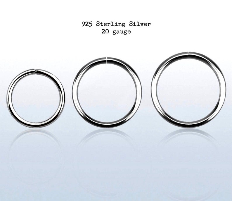 Hypoallergenic. Tragus Helix Sterling Silver 20g Cartilage Hoop Earring Small Seamless Nose Ring Eyebrow