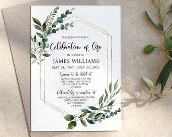 Celebration of life Invitation, Greenery Funeral Invite, Funeral Announcement, Funeral Card Template, Printable Memorial Service Invitation