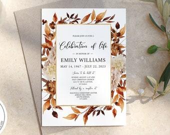 Celebration of life Invitation, Autumn Fall Funeral Invite, Funeral Announcement Funeral Card Template Printable Memorial Service Invitation