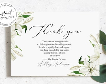 Memorial Editable Template Editable Greenery Funeral Thank You Card Microsoft Word Template Funeral Acknowledgement Card Floral Green