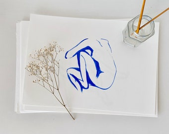 Simple line minimal blue nude painting naked female body