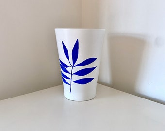 Large White Plant Pot with minimalist leaf design in blue