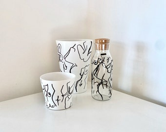 White Plant Pot with minimalist nude female forms single line