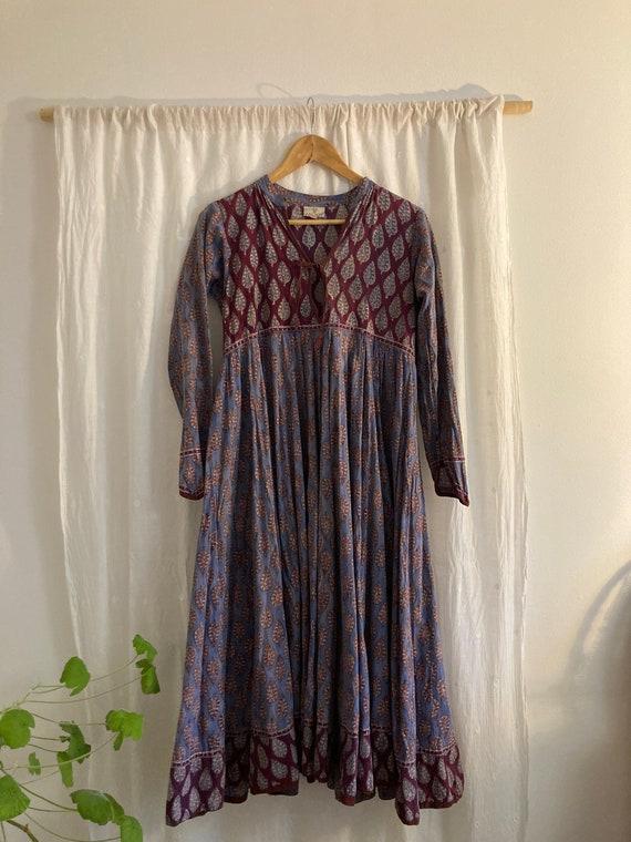 Anokhi blockprint 70s dress