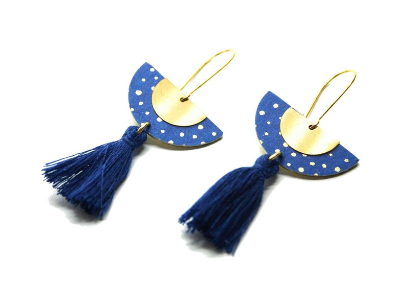 Half-round japanese blue paper earrings with golden polka dots