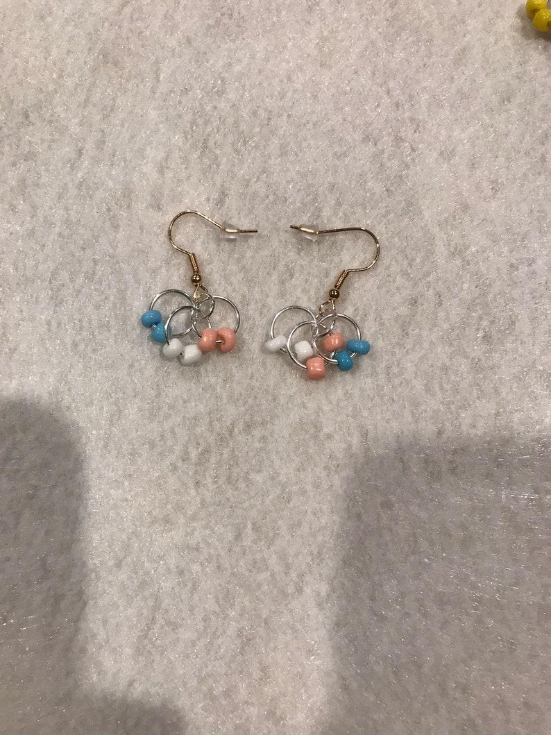 Blue Pink and White Loop Earrings