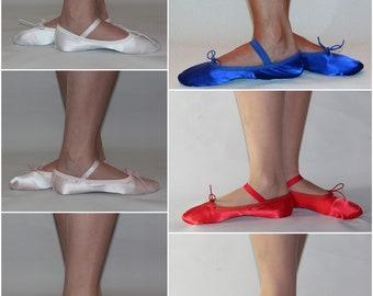Children Satin Ballet Dance Shoes. Full Sole. Wedding Flower Girl Gymnastics Dance Slippers