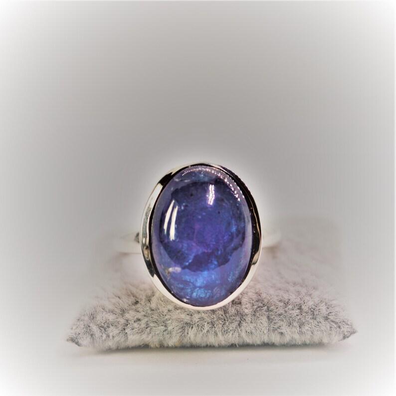 925 Sterling Silver Ring Tanzanite Cabochon