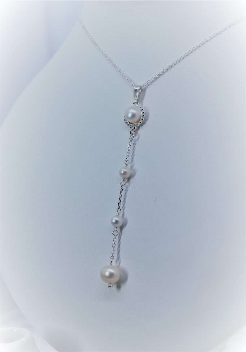 925 Sterling Silver Freshwater Pearl Drop Pendant Necklace