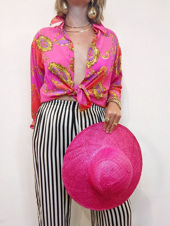 Hot Pink Beach Hat // Vintage 1990s // Floppy Wid… - image 1