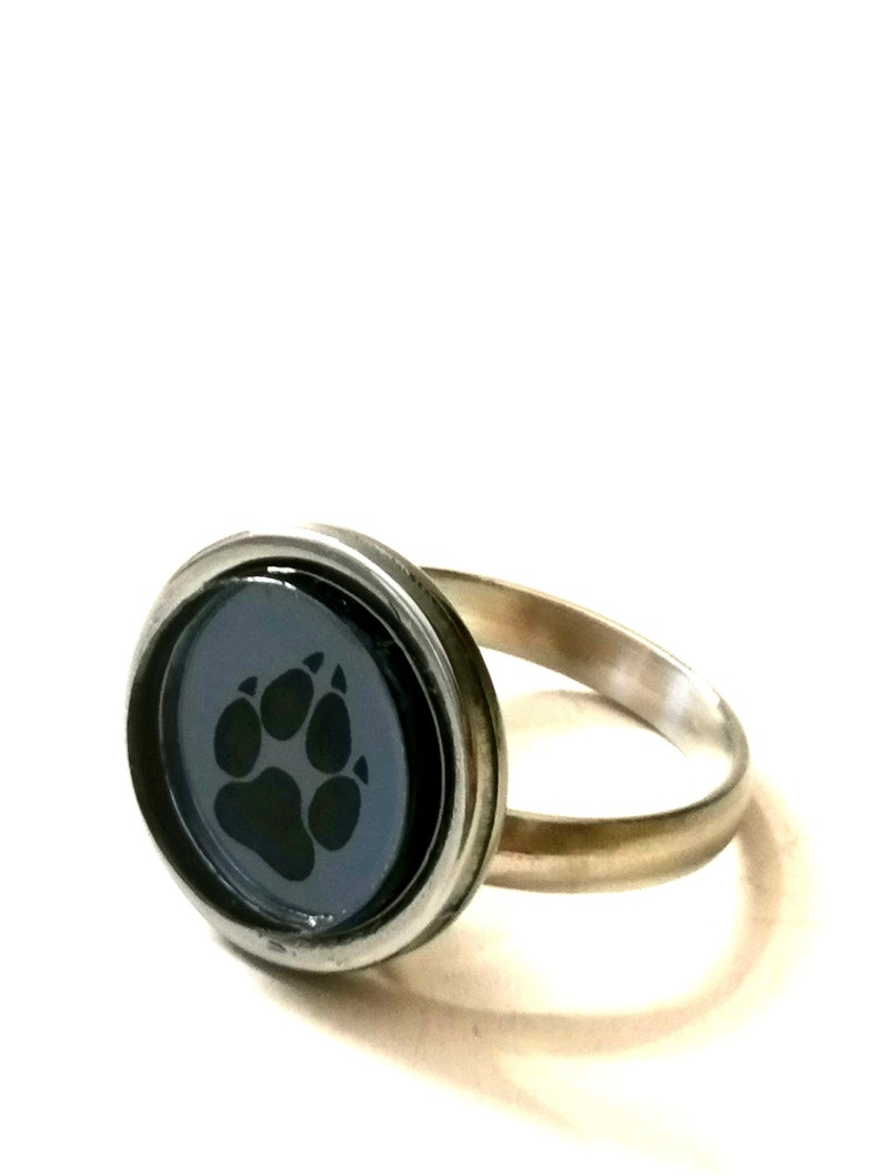 engraved mirror effects dark gray adjustable rings plexiglass stainless steel Rings wolf paw acrylic