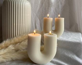 U shaped candle   Ribbed candle   U candle   Home-decor candle  Aesthetic candle   Pillar candle   Soy candle   Vegan candle