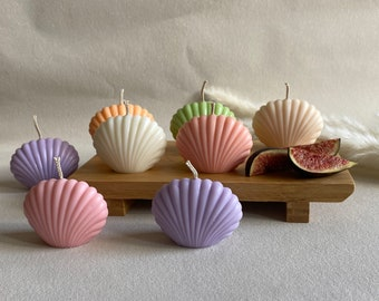 Shell candles   Sea shell candle   Pastel colour candle   Soy wax candle   Gift