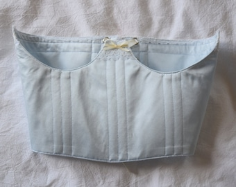Baby Blue Silk and Lace Underbust Corset with Ribbon Detailing, Antique Inspired, Custom, Cottagecore Pastel