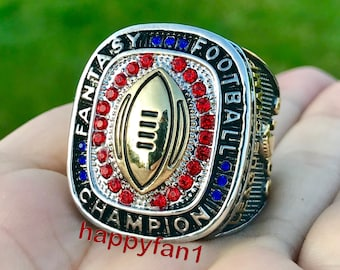 WANZIJING Fantasy Football Ring 2017 Fantasy Football Champion Rings Sports Fans Ring Collection for Boyfriend Gift Size 8-14,Gold,9