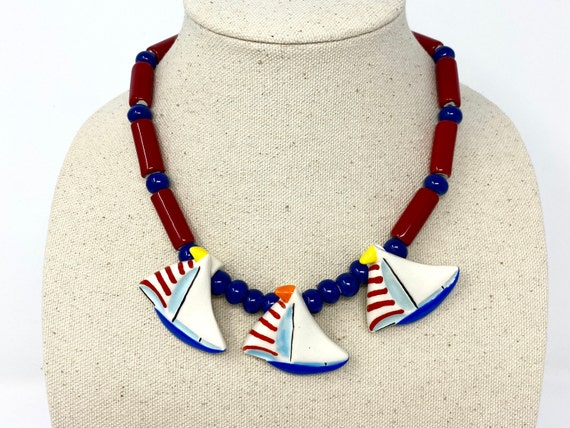 Vintage Flying Colors Necklace Ceramic Sailboats,