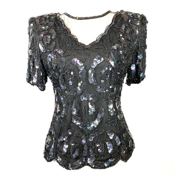 Laurence Kazar Vintage Top Black Sequins, Embellis