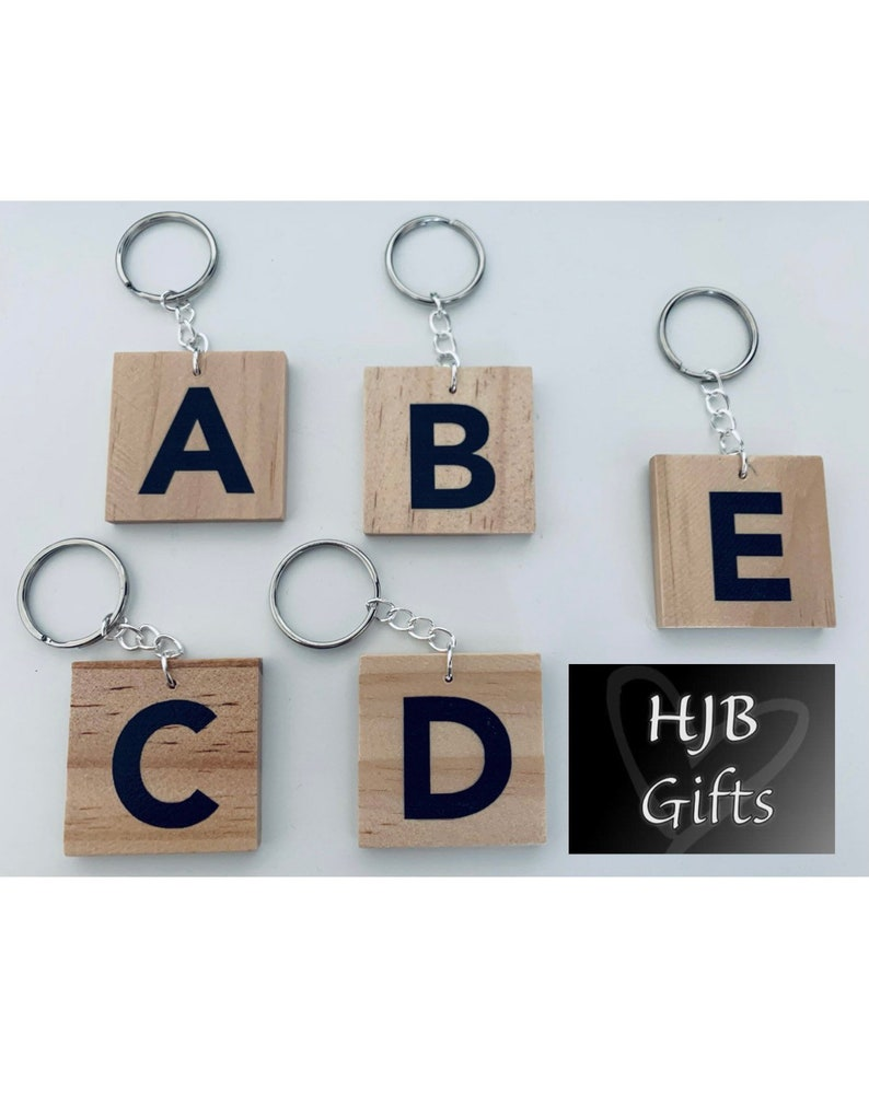Large Wooden Initial Keyrings image 0