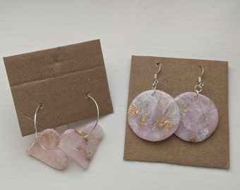 Pink Marble Polymer Clay Earrings  Crystal  Rose quartz