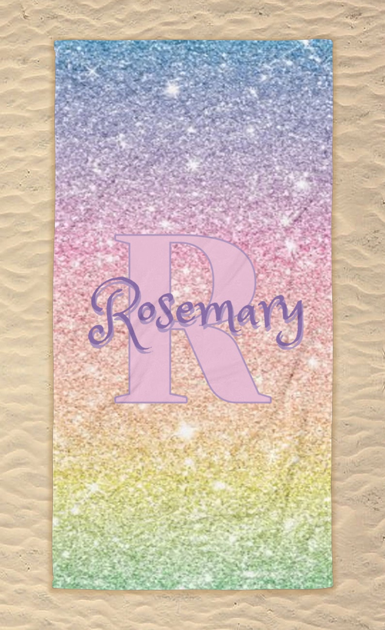 Gift for Mom Gift for Bride-to-be Gift for Daughter Personalized Rainbow Glitter Beach Towel Monogrammed