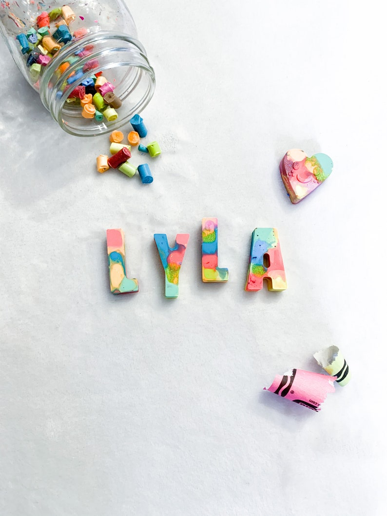 Kids Personalized Name Crayons Kids Birthday Crayons Learn To Spell Handmade Multicolor Crayons SEO Letter Recognition Party Favors