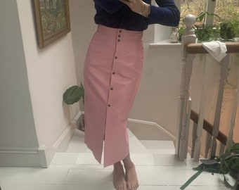80s leather mini skirt  bubblegum petal pink  XS  23 waist