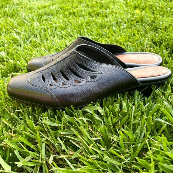 90s Vintage Black Leather Mules, Women's Size 8 (… - image 1