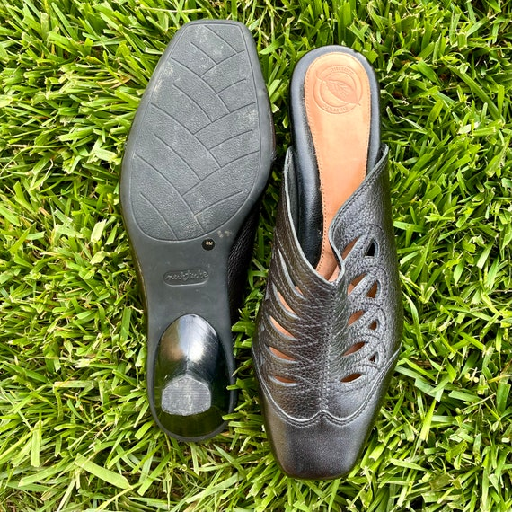 90s Vintage Black Leather Mules, Women's Size 8 (… - image 4