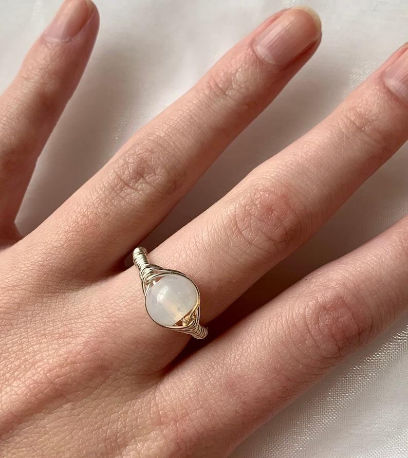 Iridescent White Wire Ring