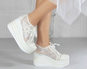 bridal sport / padding sole / lace embroidery / handmade / comfortable bride / custom design