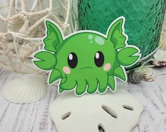 "Crabthulhu, Halloween Sticker Glossy Vinyl, 4"" 3"" cute anime chibi demigod crab"
