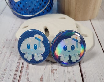 Jiggles the Jellyfish pin-back button - (1.50 In.) / Pinback Button / Badges Pins