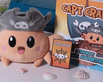 "Capt Crabs Plushie,  8"" soft cuddly chibi crab + Children's Book - Capt Crabs: a Friendly Pirate Adventure"