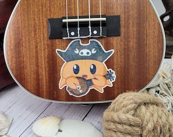 """Ukulele Pirate Crab Glossy Vinyl Sticker  4"""" 3"""" , cute anime chibi,  pirate sea creature"""