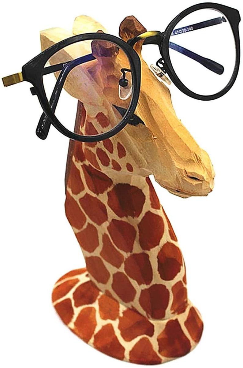 10. Wooden Giraffe Hand Carved Eyeglass Holder