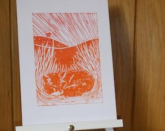 Fox ~ Lino Print ~ Clay Hanging Decoration