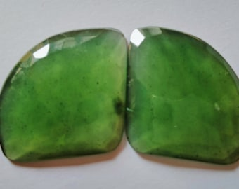 Pair Of NATURAL SERPENTINE CARVED Cushion Shape 14x14 mm Natural Loose Gemstone Carving Stone Genuine Serpentine Stone Loose Gemstone