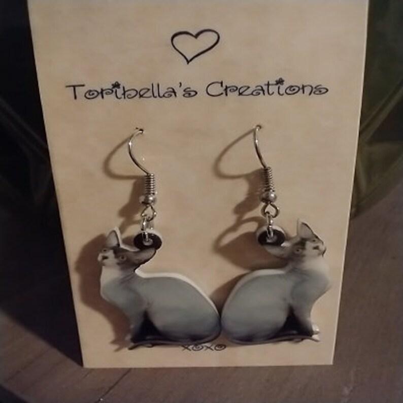 Sphinx Hairless Cat  Hook Dangle Earrings Shrink Plastic Kitschy Fun