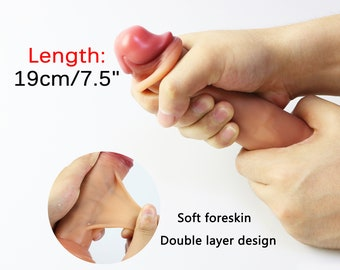 Realistic Penis with sliding Foreskin effect,Double Layer Design,harness compatible/Packing cautious