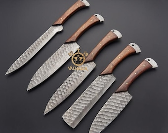 5 Pieces Handmade Damascus Kitchen Knife Chef's Knife Set With Forging Mark Blades And Leather Roll, Personalized Chef Knife ,Kitchen Knives