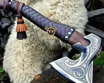 Best ANNIVERSARY Gift Custom Hand Forged Viking Axe, Ash Wood Shaft, Birthday & Wedding Gift, Bearded Viking Axe, Gift For Him, Axe And Axes