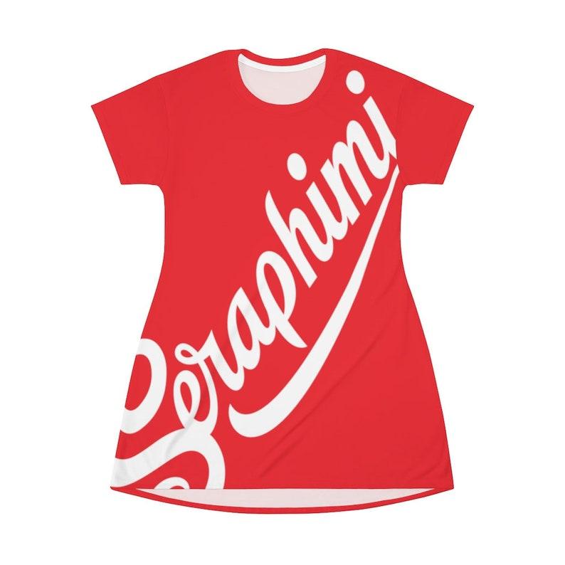 Seraphimi Surfer/'s Women/'s T-Shirt Dress Bikini Cover Cherry Red White Logo
