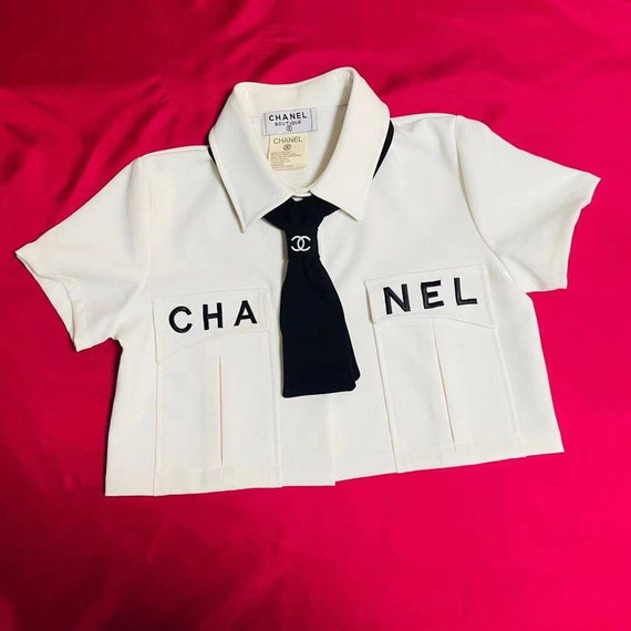 CHANEL Vintage classic white short shirt crop top