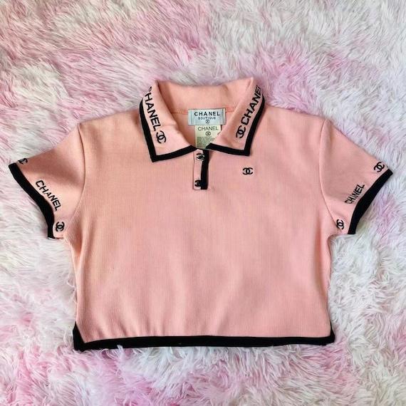 CHANEL VINTAGE pink polo crop top