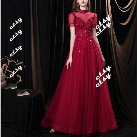 High Illusion Sequin Red Princess Prom Gowns Long with Short Sleeves