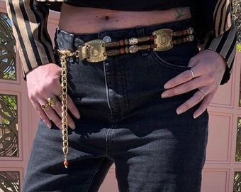 80s Vtg Leather Belt With Silver Metal Chains