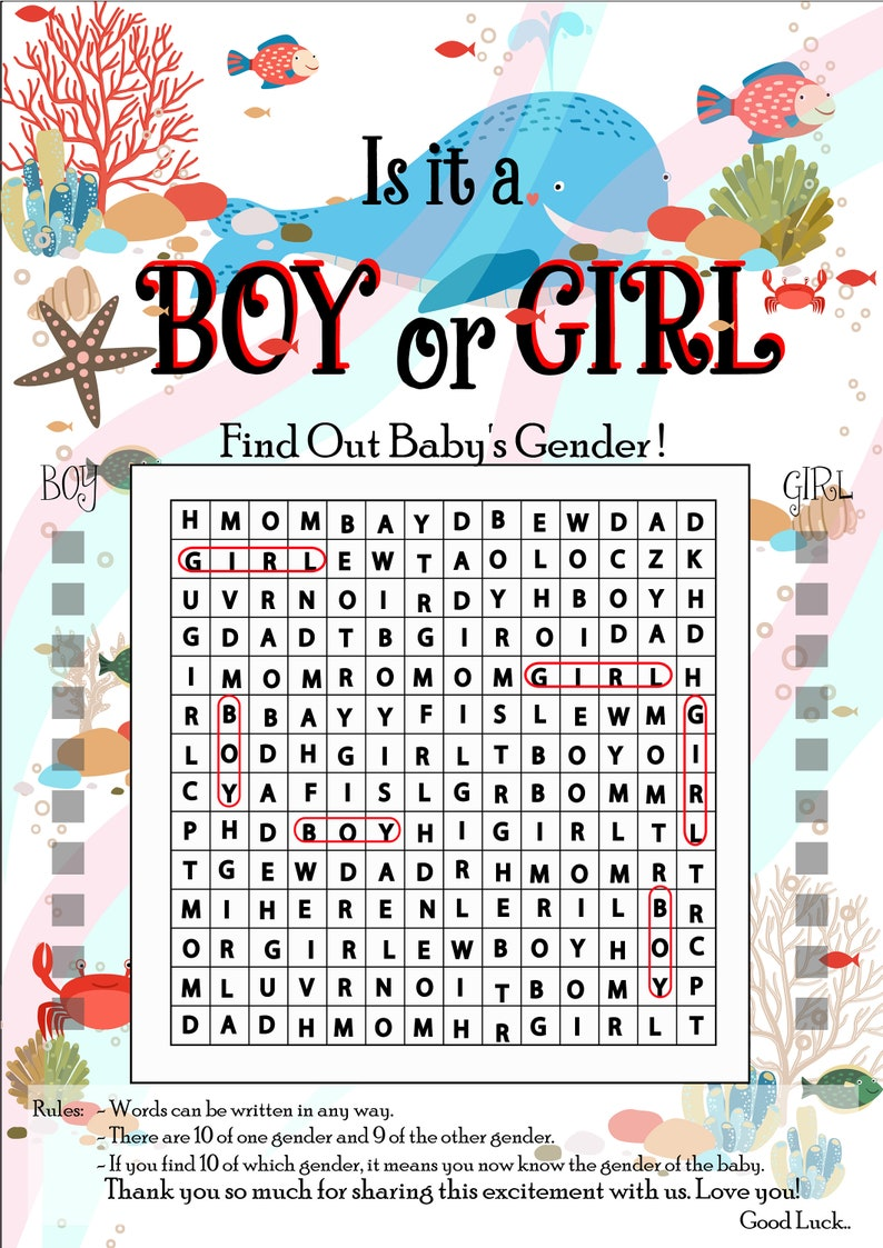 Gender Reveal CrossWord Game  with UnderWater Design Gender Reveal Party Game Gender Reveal Ideas Gender announcement Game -