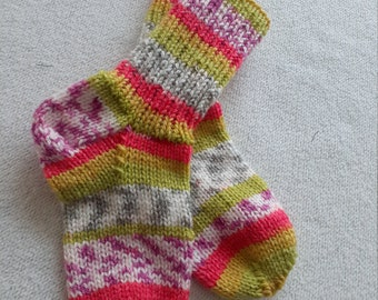 34 35 thick purple knitted socks kids hand knitted